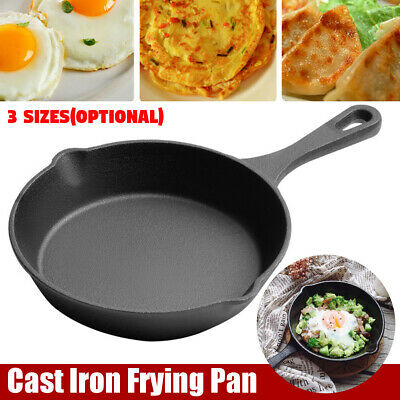 3 Sizes Non-Stick Frypan Grill Cast Iron Safe Camping Cooking Pan Cookware OZ