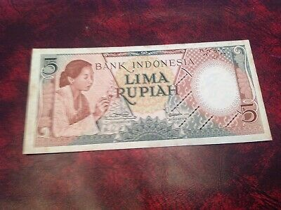 5 Indonesia Rupiah Banknote dated 1958