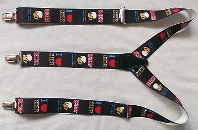 Braces Suspenders Mens Vintage CLIP ON 1980s BIER BEER GERMAN FESTIVAL