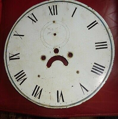 """Antique  Longcase / Grandfather  Clock  Painted  13""""  Round  Dial"""