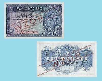 UNC Poland 5 Zlotych 1830 Reproductions