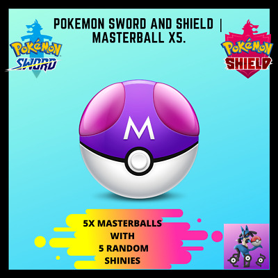 Pokemon Sword and Shield | Bulk of 5 Masterballs! (comes with shiny Pokemon!)