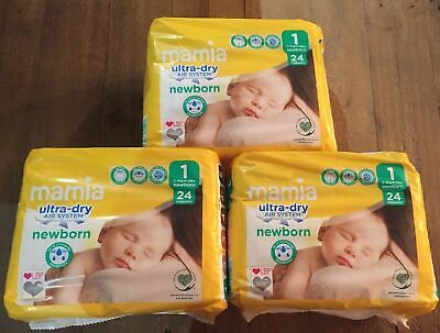 72 New Born Size 1 Aldi Mamia Nappies (3 packs of 24 ) 2-5kg/4-11lbs