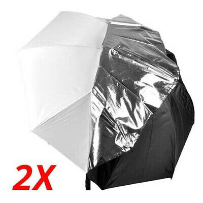 "2 x 40"" Photo Studio Black Silver Reflector Umbrella Video Flash Reflective"