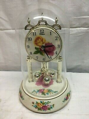 Vintage Waltham Glass Dome Anniversary Ceramic Floral Chiming Clock 9.5in