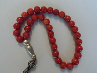 Superb & Rare Antique Old Genuine Natural Undyed Red Coral Prayer Beads