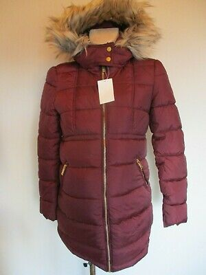 H&M Mama Maternity Wine Quilted Fur Trim Coat Mac Jacket Size Xs Uk 6-8 Bnwt