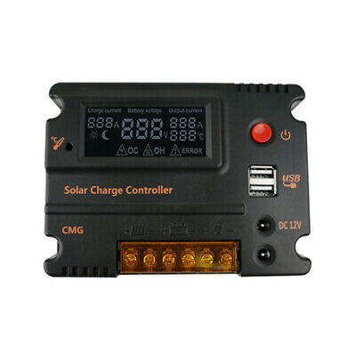 20A 12V/24V Dual USB Solar Charger LCD Controller Automatic Panel Regulator