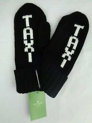 Kate Spade Taxi Mittens Gloves New York Black One Size Fits Most NEW NWT