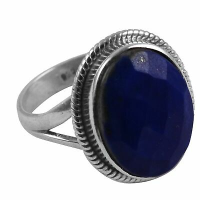 Faceted-Lapis Lazuli Solid 925 Sterling Silver Ring  Jewelry Size-6.75 AR-8207