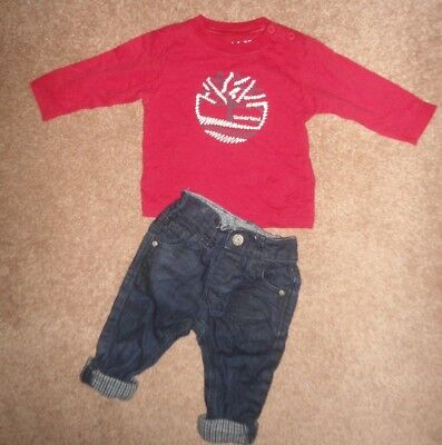 Timberland Boys Stylish Top & Next Denim Jeans Age 3-6 Months