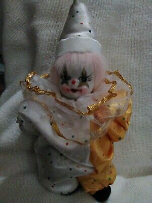 Collectible. Porcelain  Face Clown with Satin Outfit Vintage Irene/'s