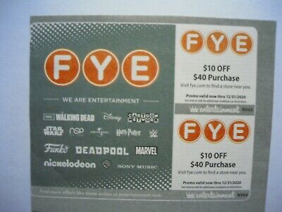 (2) FYE Coupons: (2) $10 OFF on $40 Valid Now thru 12/31/20