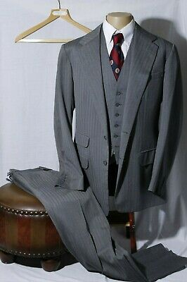 Anderson & Sheppard Savile Row Men's Gray Herringbone 3-Piece Suit Size 42R W36