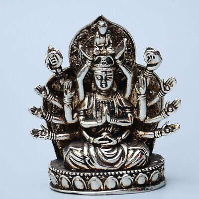 Collect China Delicate Miao Silver Carve Thousand-Hand Exorcism Kwan-yin Statue