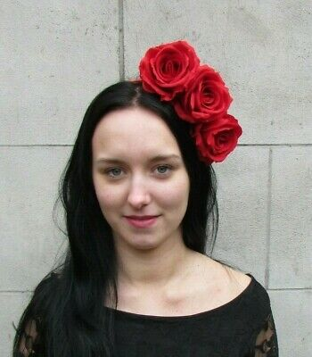 Red Rose Flower Fascinator Headpiece Headband Races Floral Hair Crown Band 8016
