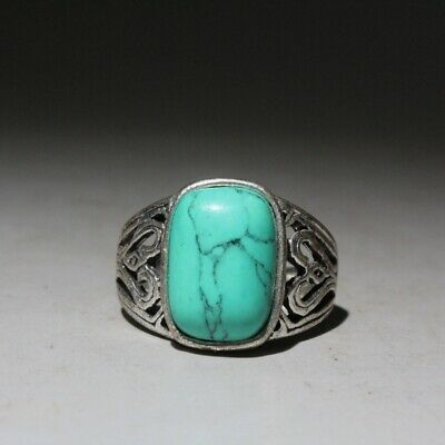 Collectable Chinese Ancient Miao Silver Mosaic turquoise Carve Auspicioius Ring