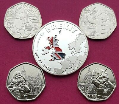 """"""" All 4 Paddington Bear 50P Coins Inc At St Paul's Cathedral Plus Brexit Coin."""