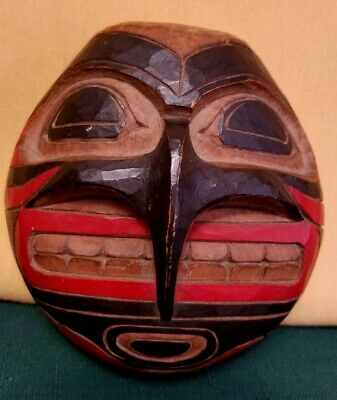 Vintage Circa 1920 Native American Haida Carved Wood Face Figurine