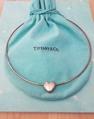 100% Authentic Tiffany & Co Sterling Heart Necklace With Orig Box & Pouch Rare!!