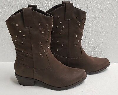 Boots Cowboy Causal Chocolate Brown Rhinestone Leather Suede Calf Women Size 7.5