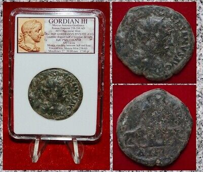Ancient Roman Empire Coin GORDIAN III Moesia With Bull And Lion On Reverse Large