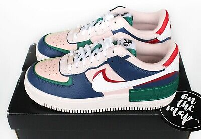 NIKE AIR FORCE 1 AF1 W Shadow Mystic Navy Blue Pink Red UK 3