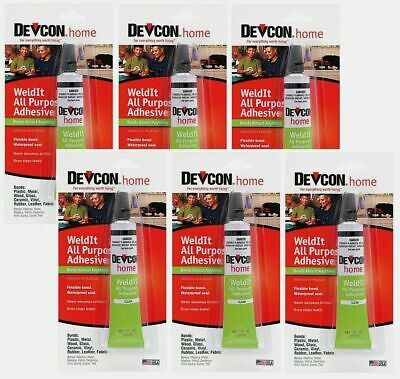 (6) Tubes Of Devcon Weldit All Purpose Household Cement Epoxy Glue Clear S-182