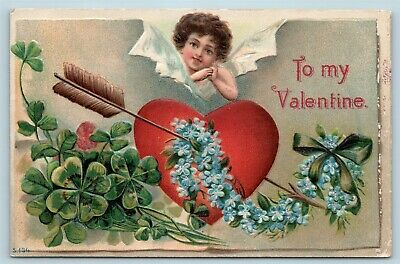 Postcard Valentines To My Valentine Cupid Heart In Heart Flowers c1908 Y15