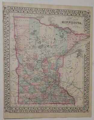 ORIGINAL 1880 Mitchell's New General Atlas HAND-COLORED Map,MINNESOTA COUNTIES