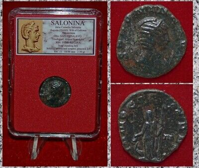 Ancient Roman Empire Coin SALONINA  Antoninianus Juno  IVNO REGINA