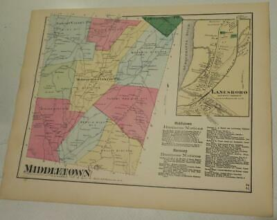 1872 Susquehanna County PA HAND-COLORD MIDDLETOWN TownshIp & LANESBORO MAP,OWNRS