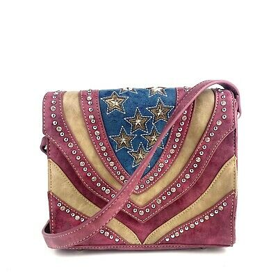 Montana West American Pride Collection Leather Crossbody Bag Magenta/Blue/Tan