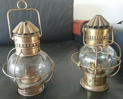 Vintage  Brass Ship Boat Maritime Nautical Onion Oil Lamp Light Burner