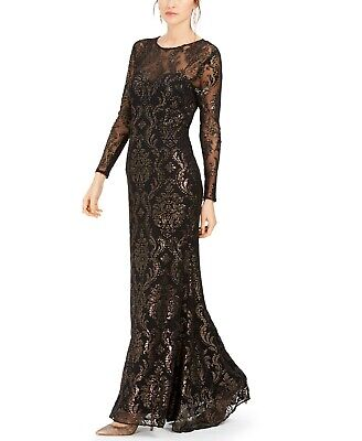 Adrianna Papell Womens Burnout Emblem Gown Metallic Black Bronze Stretch Size 8