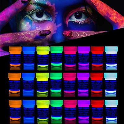 'XXL Set' 24 Cans of Neon Body Paints by neon nights – 16.5 fl oz of Luminescent