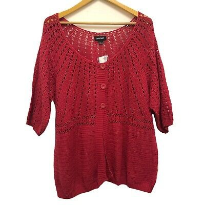 AVENUE Womens 22/24 Crochet Top Plus Size Pink Stretch Career Tunic Blouse