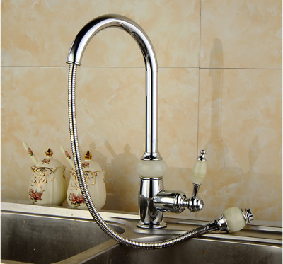 Chrome Pull Out Swivel Arc Kitchen Sink Mixer Faucet Single Lever Hole Brass Tap