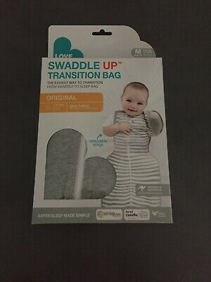 BRAND NEW Love to Dream Swaddle Up 1 Tog Transition Bag 50/50 GREY MEDIUM