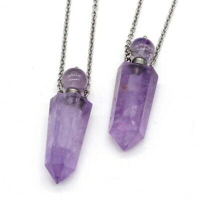 Natural Healing Crystal Stone Hexagonal Diffuser Perfume Bottle Pendant Necklace