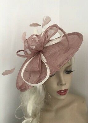 NEW Nude Blush Dusky Pink Fascinator Saucer Wedding Hat Formal Ladies Hatinator