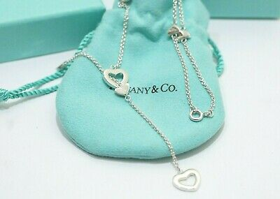 Auth Tiffany & Co. Sterling Silver Heart Lariat Necklace