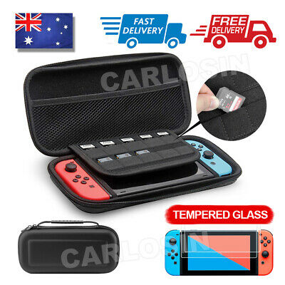 For Nintendo Switch Carry Storage Case Console Protective Bag + 2xTempered Glass