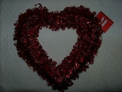 """Valentine's Tinsel Puffy Heart - Red And Red-  16"""" - New With Tags"""