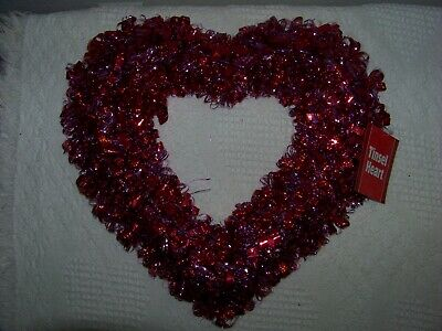 """Valentine's Tinsel Puffy Heart - Red And Pink -  16"""" - New With Tags"""