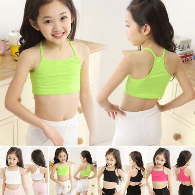 Kids Girls Cropped Tank Top Beach Summer Vest Tube Spaghetti Strap Underclothes