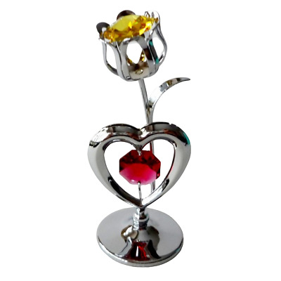 Crystocraft Tulip & Heart Crystal Ornament With Swarovski Elements Gift Boxed