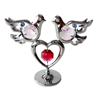 Crystocraft Doves & Heart Ornament Crystal With Swarovski Elements Gift Boxed