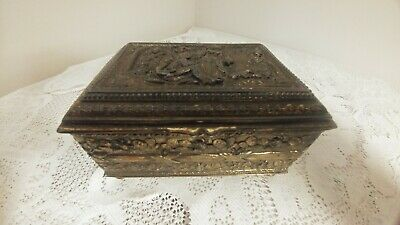 Antique Vtg Ornate Adorned Victorian Scene Brass Footed Jewelry Box Wood Lined
