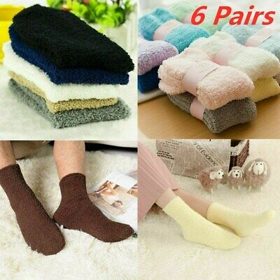 6 Pairs Men Women Cosy Bed Socks Soft Fluffy Home Thick Indoor Winter Warm Sock